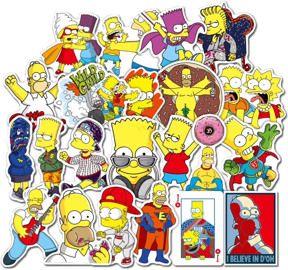 50Pcs Simpson Animation Theme Stickers Variety Vinyl Car Sticker Motorcycle Bicycle Luggage Decal Graffiti Patches Skateboard Stickers for Laptop Stickers for Kid and Adult