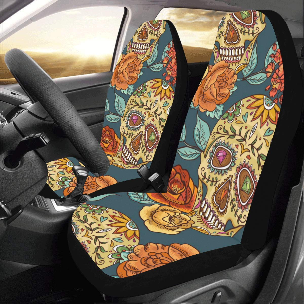 InterestPrint Universal Skull and Flowers Day of The Dead Two Front Car Seat Covers Set -100% Breathable