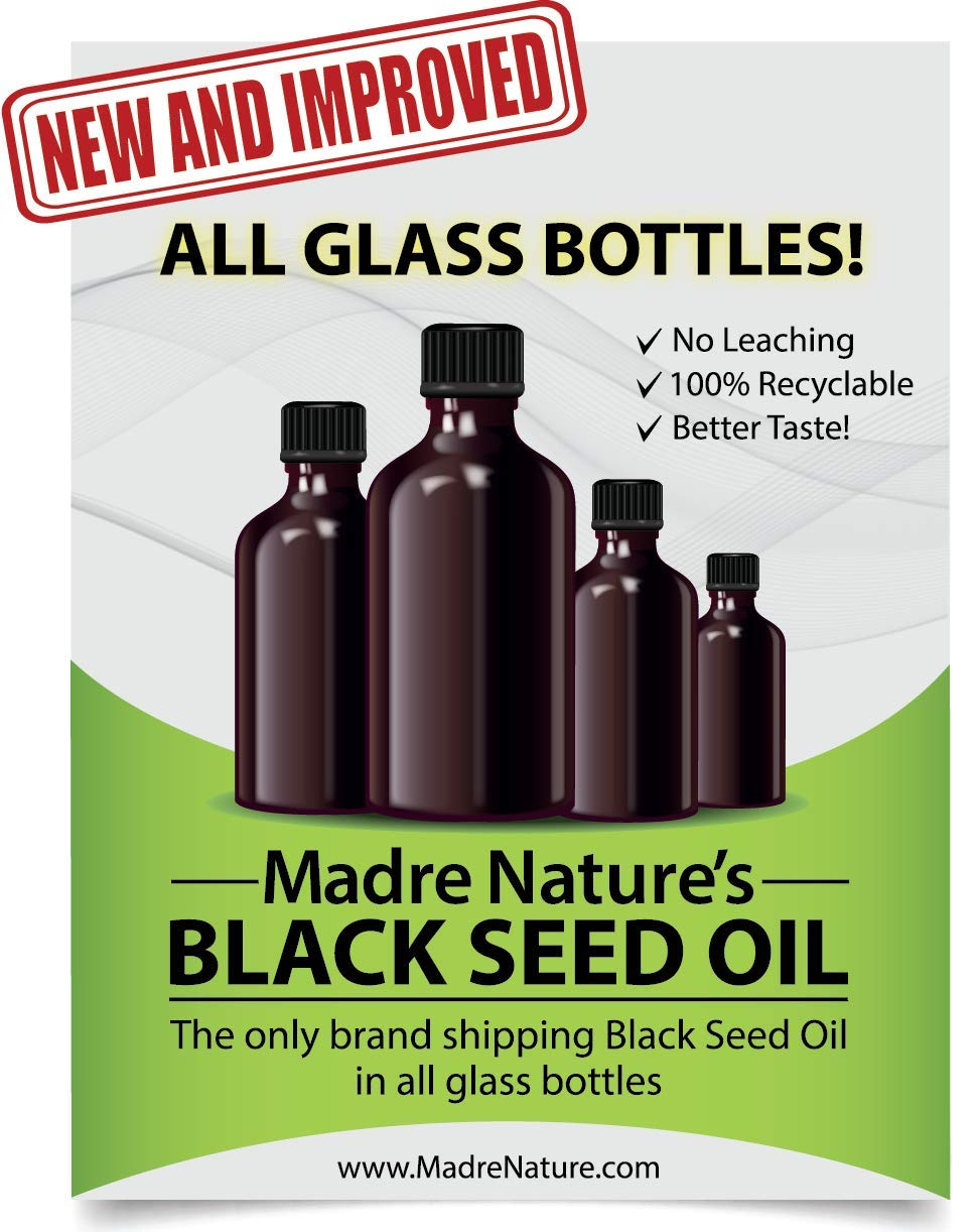 100% USDA Organic Certified Premium Black Cumin Seed Oil   GLASS BOTTLE   Darkest, Highest TQ 1.08%   Nigella Sativa   Undiluted   Cold Pressed, No Solvents   Certified Vegan, Non-GMO (8 ounce) by Madre Nature (Image #2)