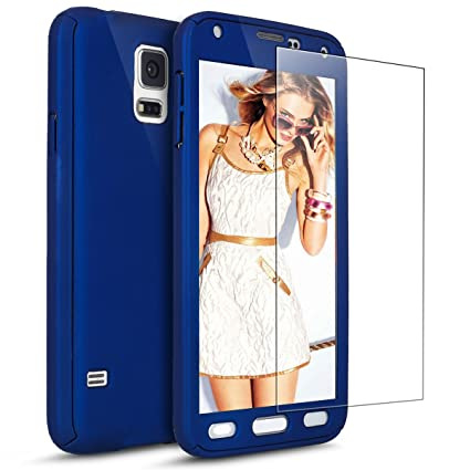 uk availability 99e1e f6ba7 PHEZEN Galaxy S5 Case with [Tempered Glass Screen Protector], 360 Full Body  Coverage Protective Case Cover Ultra-Thin Hybrid Hard PC Protection Case ...