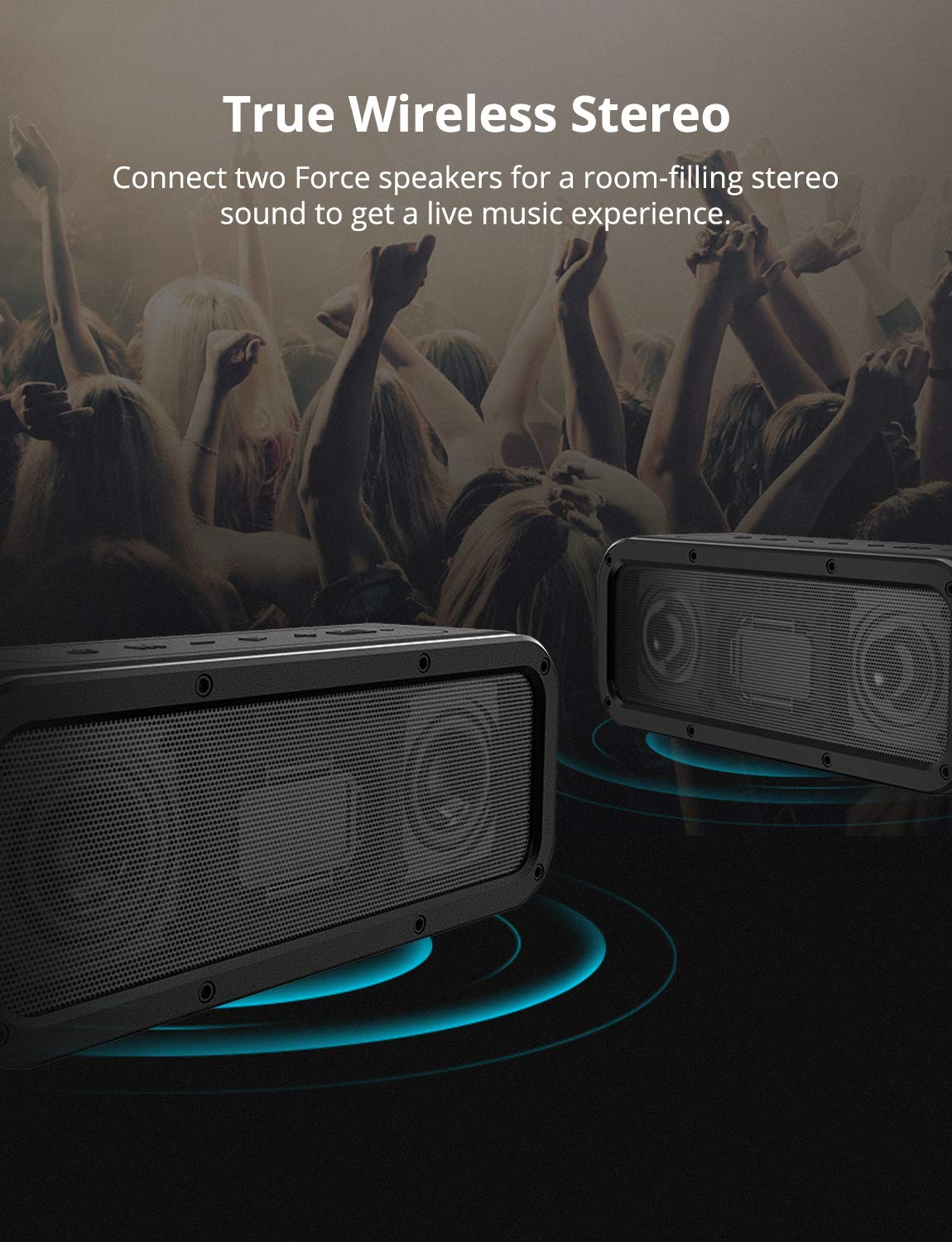 Portable Bluetooth Speakers, Tronsmart Force SoundPulse 40W IPX7 Waterproof Bluetooth 4.2 Wireless Speakers with 15-Hour Playtime, TWS, Dual-Driver with Built-in Mic, NFC, Deep Bass (Force) by Tronsmart (Image #4)