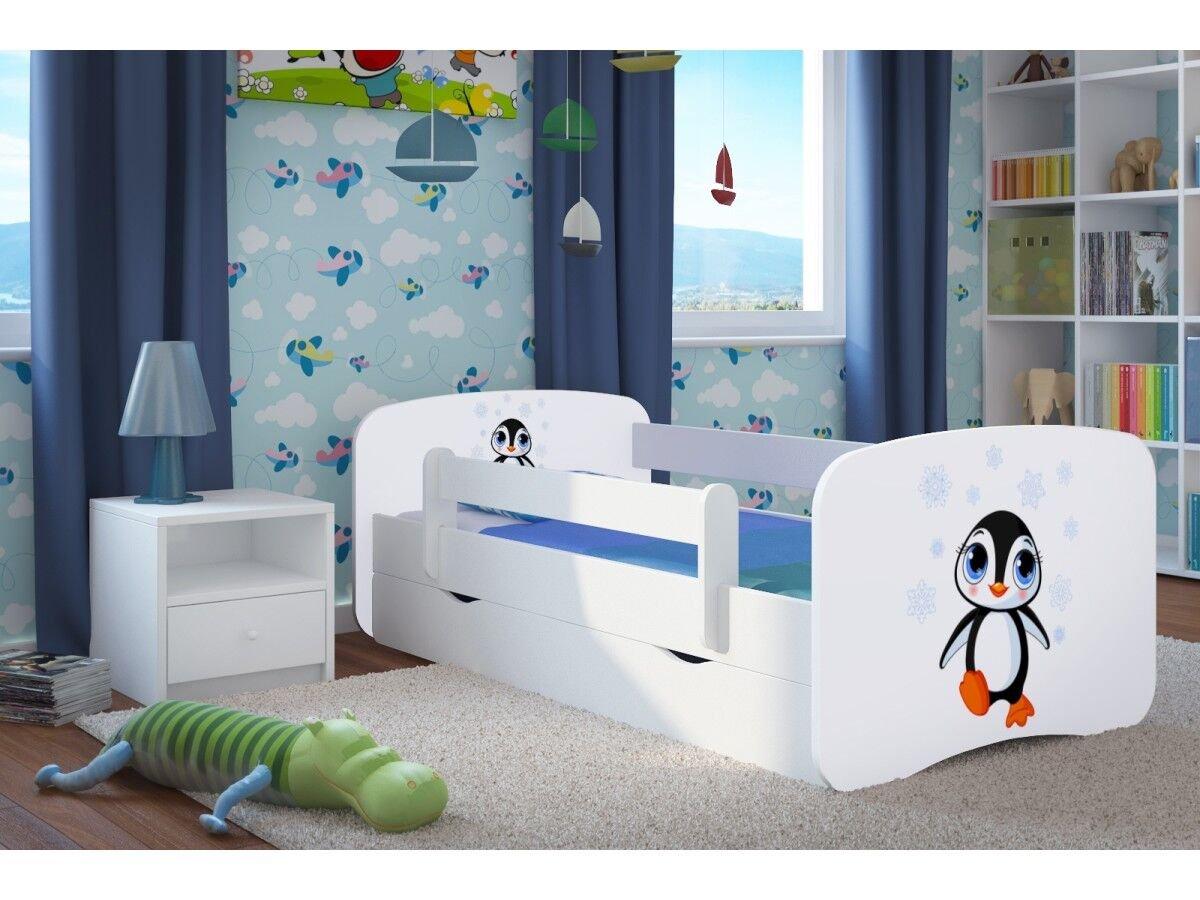 CARELLIA Cama Infantil pinguuml;ino 80 x 180 cm con Barriere Zapatillas de + somier + cajones Incluye colchón. – Color Blanco