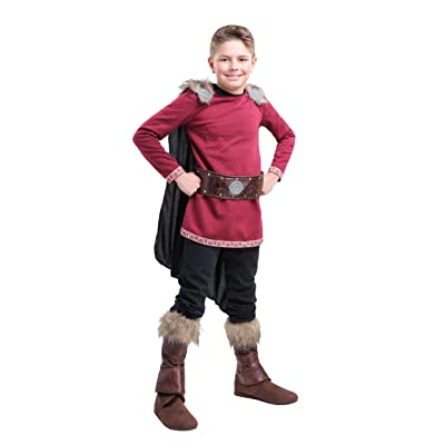 Boy's Burgundy Viking Costume: Clothing