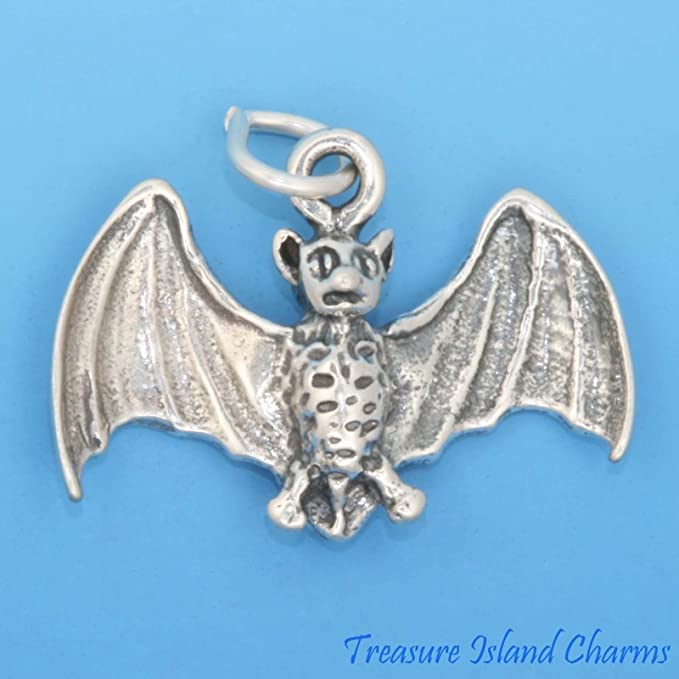 Flying Vampire Bat Halloween 3D .925 Solid Sterling Silver Charm Pendant