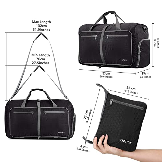 Amazon.com  Gonex 40L Packable Travel Duffle Bag for Boarding Airline,  Lightweight Gym Duffle Water Repellent   Tear Resistant Black  Sports    Outdoors f844533359