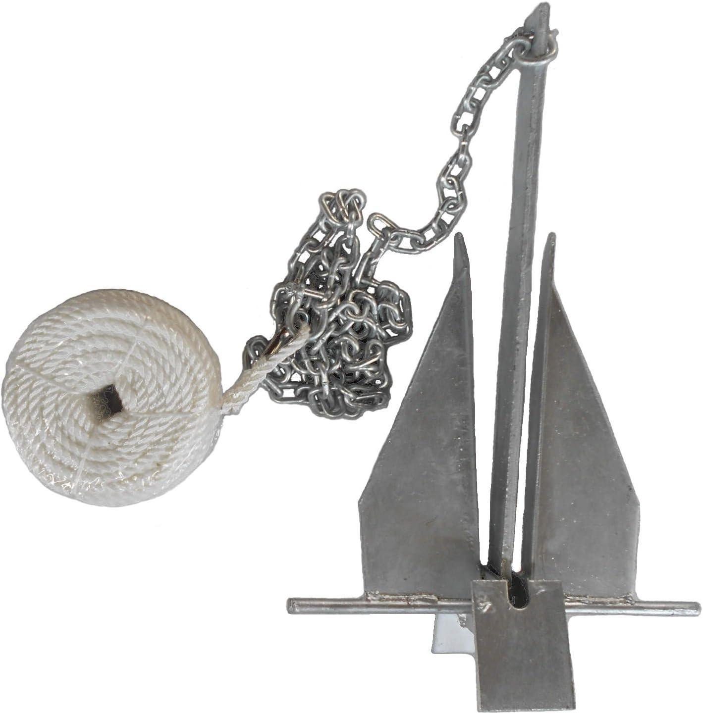 MarineNow Deluxe Portable 8.5 lb Fluke Style Anchor Kit for 15' - 24' Boat