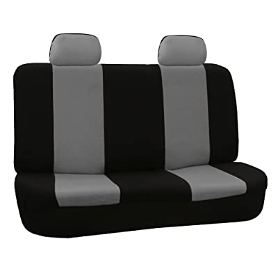 FH Group FB050GRAY012 Gray Fabric Bench Car Seat Cover with 2 Headrests: Automotive