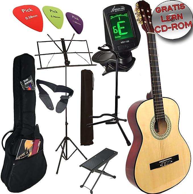 Original Ashley Set guitarra clásica +, funda, afinador, Guitarra ...