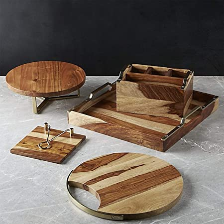 nestroots Natural Wooden Handcrafted Dining Table Serveware Napkin Holder/Serving Platter/Tray/Cake and Spoon Stand Set - Pack of 5 Kitchen Linen at amazon