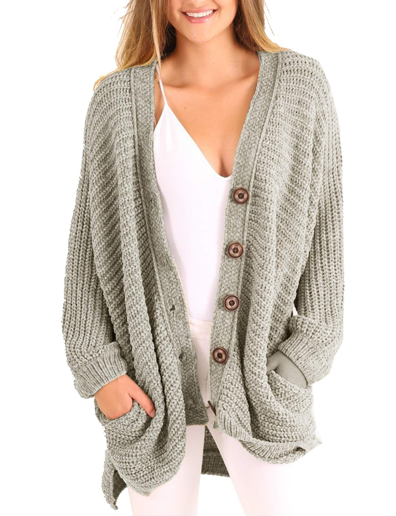 Rotita Women Open Front Chunky Cardigans Button Down Knit Boyfriend Sweater Coats with Pocket