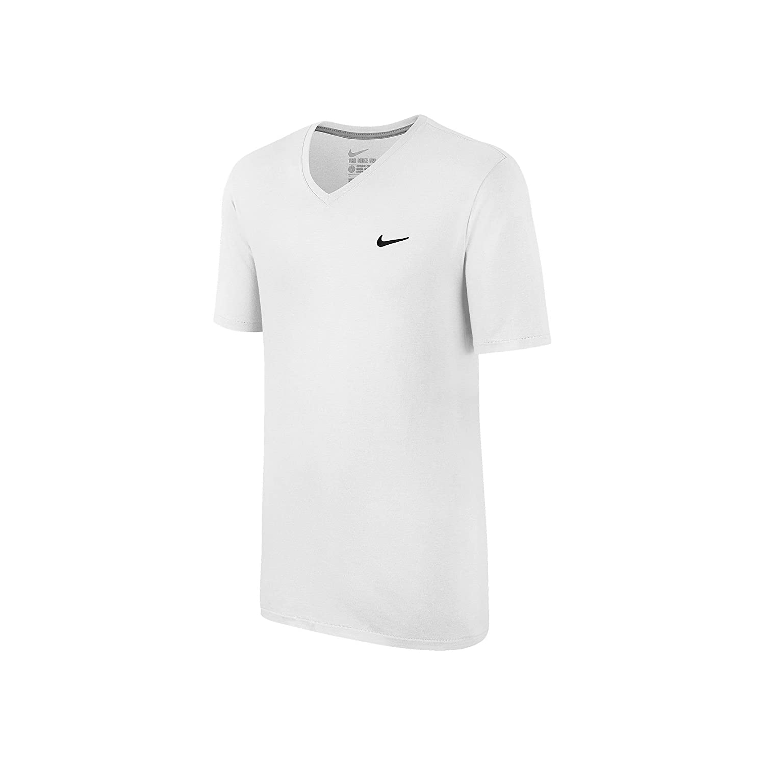 725237-100 MEN TEE-V NECK SWOOSH NIKE WHITE//BLACK