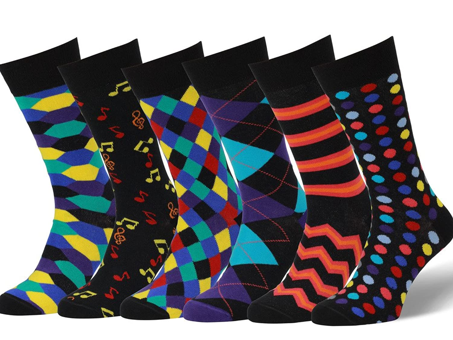 Easton Marlowe Mens 6 Pack Colorful Patterned Dress Socks, European Made at Amazon Mens Clothing store:
