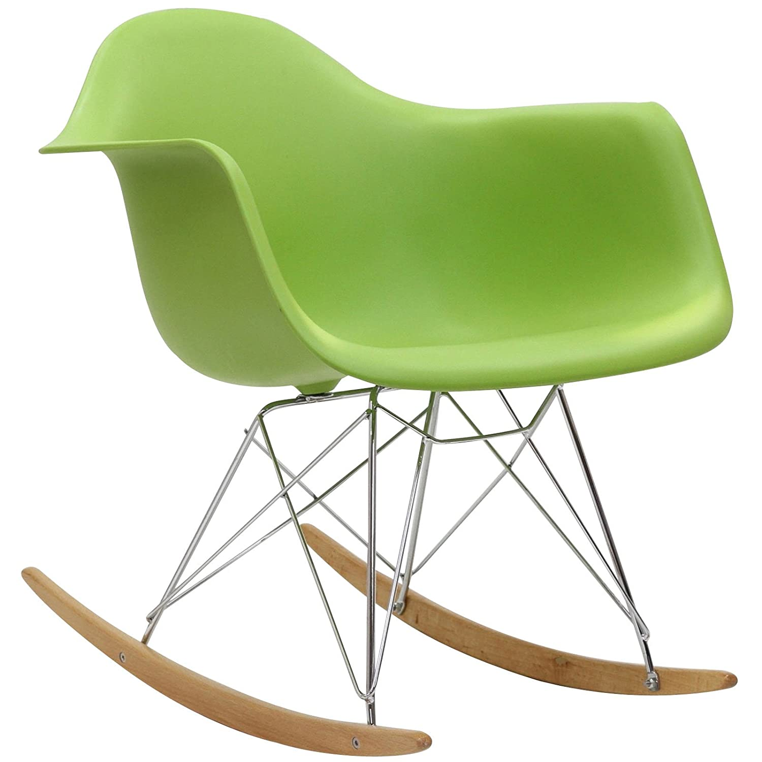 Amazon Modway Molded Plastic Armchair Rocker in Green