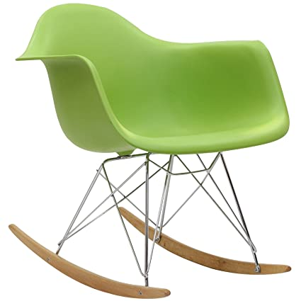 Modway Molded Plastic Armchair Rocker In Green