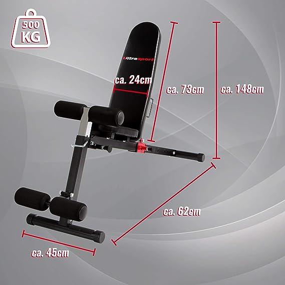 Ultrasport Banco de musculación TR-3 Compact, plegable, aparato de entrenamiento multifunción compacto, adecuado para el curl de bíceps, abdominales y mucho ...
