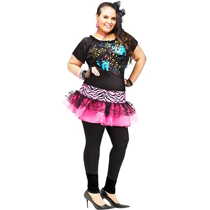 Plus Size Womens 80s Pop Party Colorful Paint Splatter and Zebra Print Dress/Skirt.