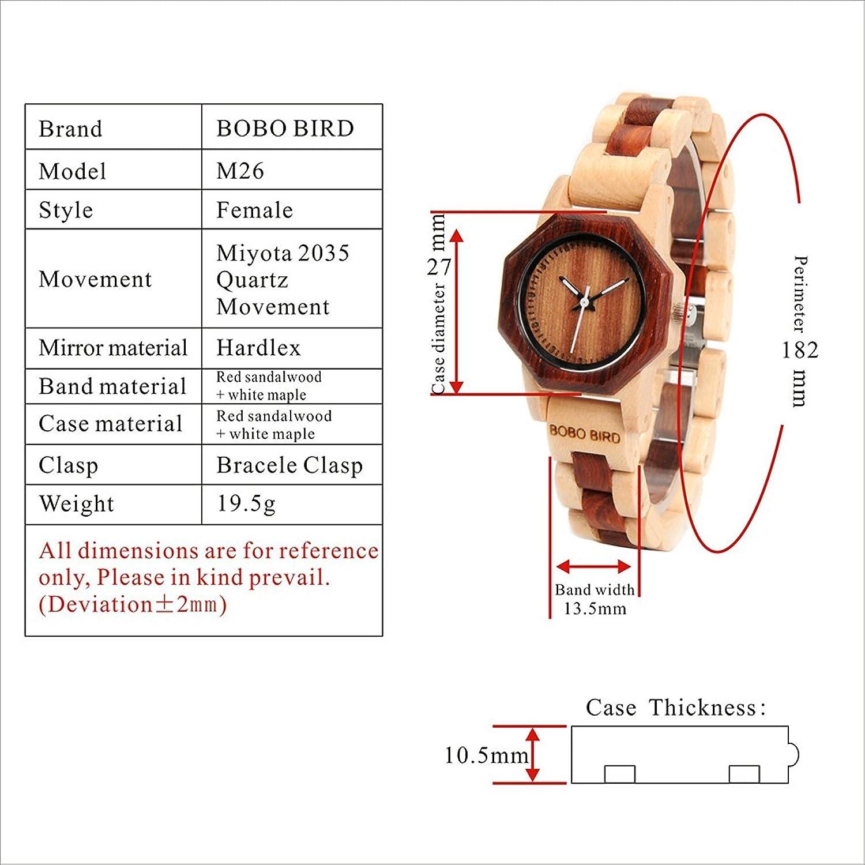 Amazon.com: BOBO BIRD Women\'s 27MM Handmade Wooden Watch Exquisite ...