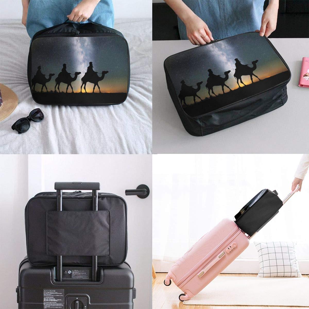 ADGAI Arabian Camel Caravan Canvas Travel Weekender Bag,Fashion Custom Lightweight Large Capacity Portable Luggage Bag,Suitcase Trolley Bag