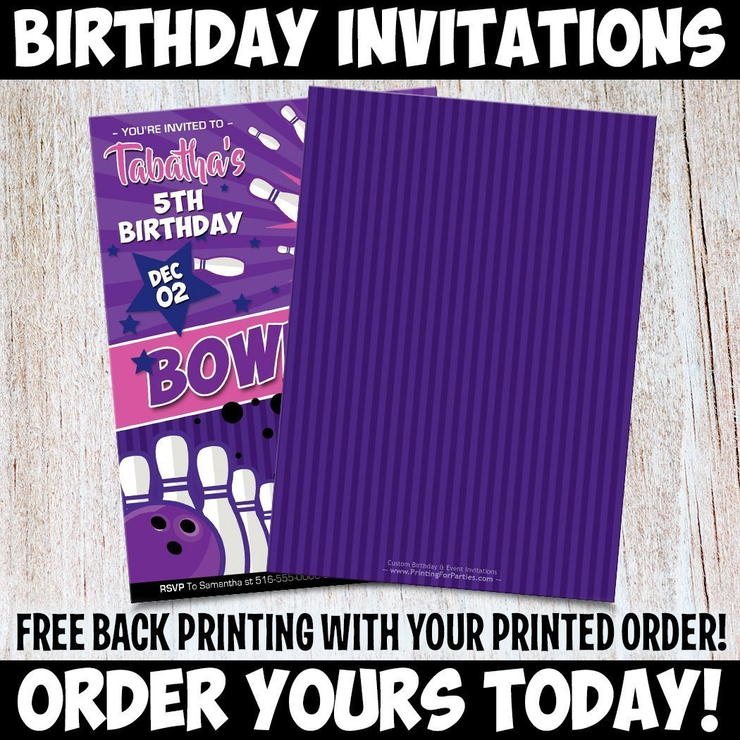 Amazon Custom Personalized Girls Bowling Birthday Invitations