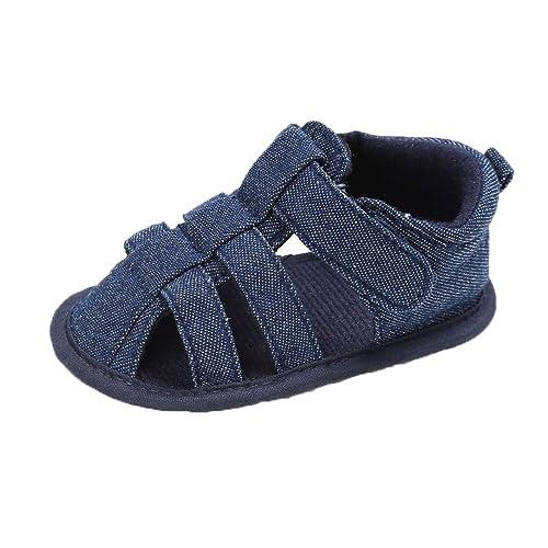 Zapatos Bebe Niño Verano Fossen Lona Sandalias de Velcro Suela Blanda Zapatos del Antideslizante para Recién Nacido Niña Niño
