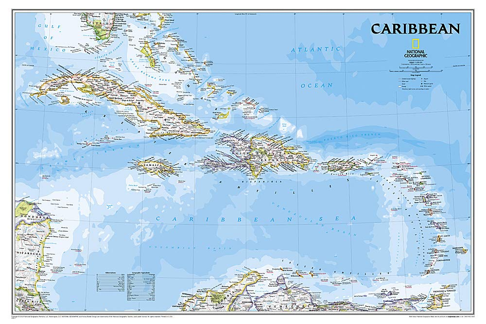 National Geographic: Caribbean Classic Wall Map - Laminated (Poster Size: 36 x 24 inches) (National Geographic Reference Map) by National Geographic Maps