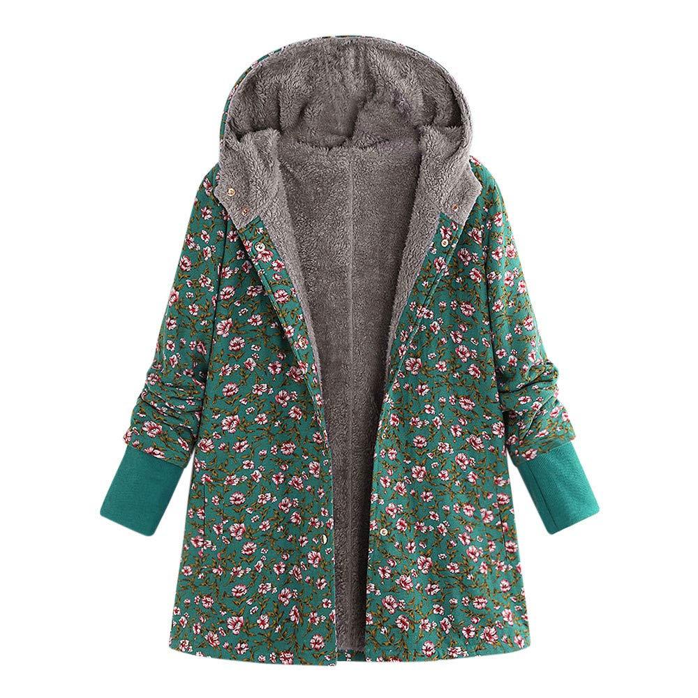 Women Winter Hooded Long Sleeve Vintage Print Fleece Thicken Hasp Coats Outwear Long Jackets for Women