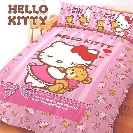 Amazon.com: Hello Kitty 4 piezas doble juego de cama: Oso ...