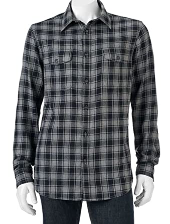 c74f82c3 Sonoma Mens Classic Fit Flannel Shirt Size Western Check Grey Black ...