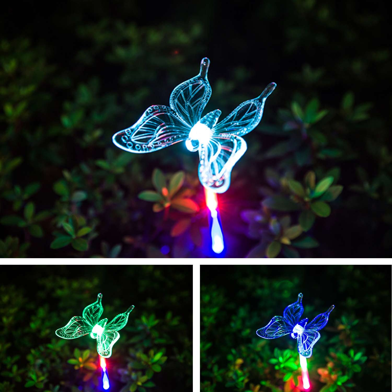 HCTro Solar Garden Lights, Crystal Upper Stake with Built in Multi Color Changing 3 LED, Hummingbird Butterfly Dragonfly, Solar Powered Lights, Outdoor Solar Lights for Patio Yard Fairy, 3 Pack