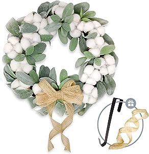 TwistedTwine Lambs Ear Cotton Wreath - 15'' Handmade Farmhouse Decor Includes Storage Gift Box, Wreath Hanger, Removable Burlap Bow, & Extra Ribbon