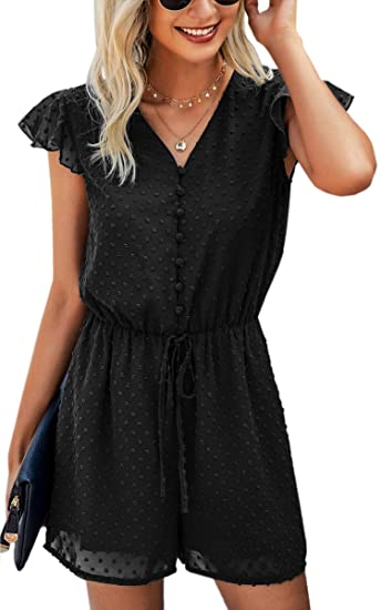 Buy Angashion Women's Rompers-Summer Deep V Neck Wrap Floral Polka Dot  Short Sleeve Beach Short Jumpsuit 2149Black Small at Amazon.in