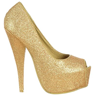 97f182c779e Onlineshoe Women s Sparkly Gold Glitter Peep Toe Stiletto Concealed Platform  High Heel Prom Party Shoes UK
