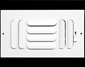 """10"""" X 4"""" 3-Way Fixed Curved Blade AIR Supply Diffuser - Vent Duct Cover - Grille Register - Sidewall or Ceiling - High Airflow - White"""