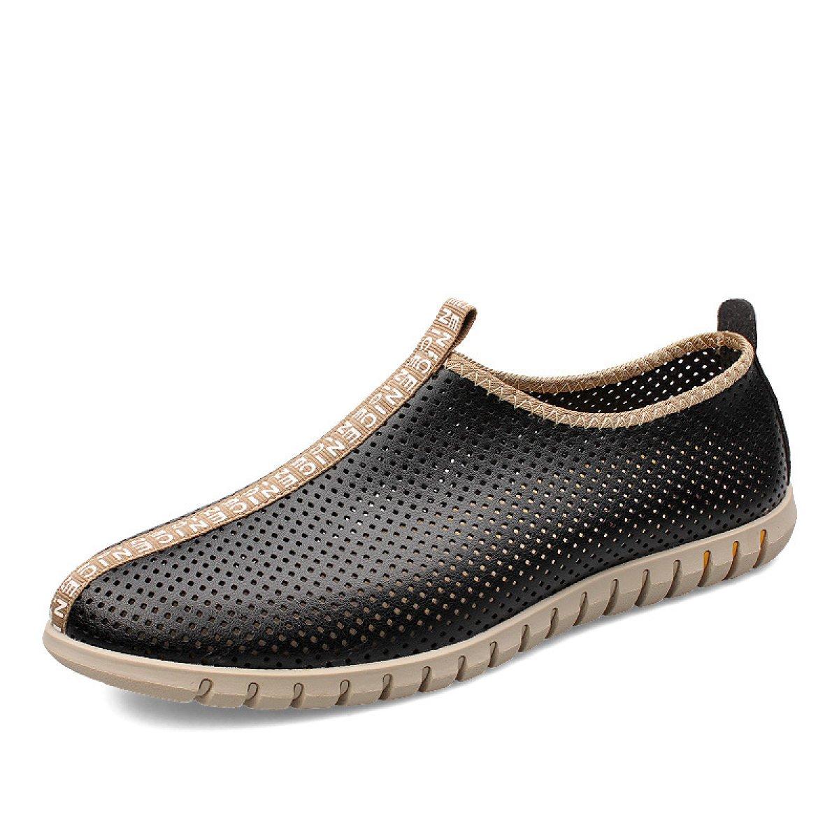 LXXAMens Verano Cuero Casual Zapatos De Trekking Peso Ligero De Malla Transpirable Calzado Deportivo,Black-44EU 44EU Black