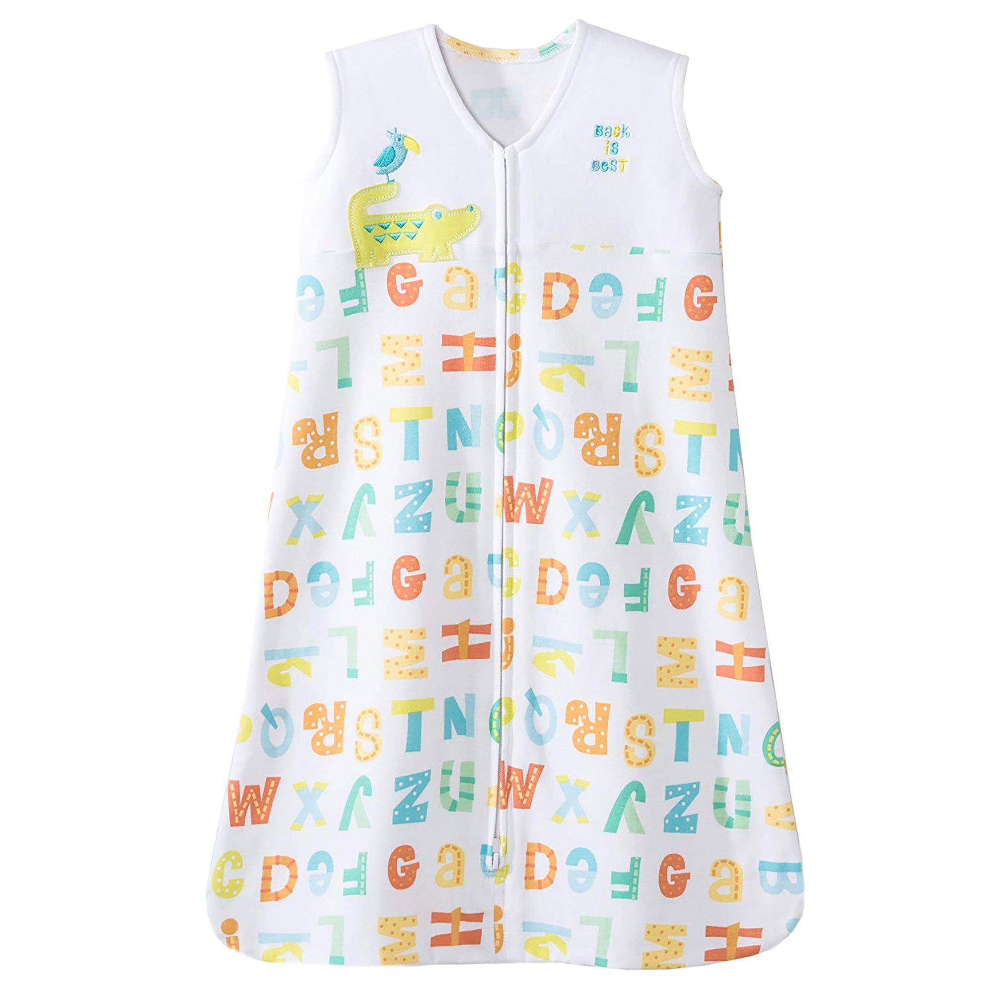 HALO Sleepsack 100% Cotton Wearable Blanket, Yellow Alphabet Pals, Large