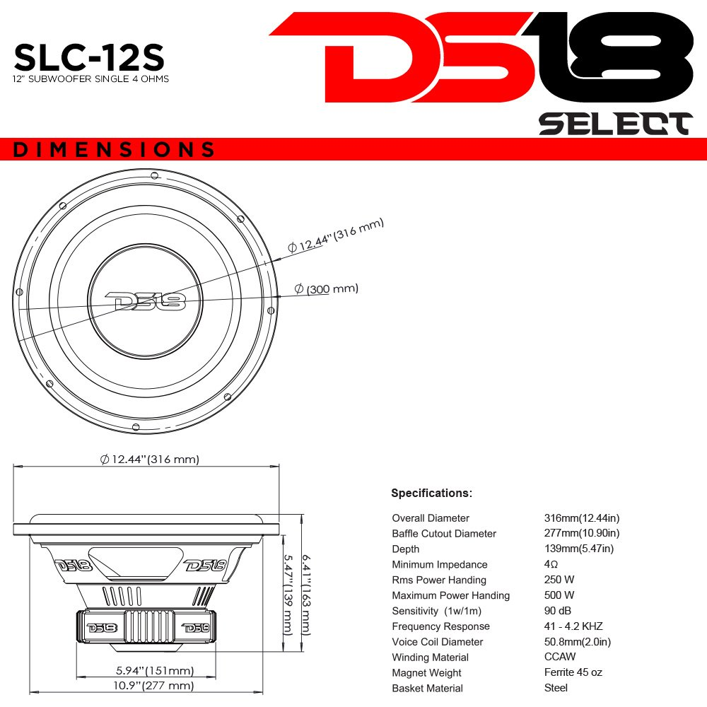 Ds18 Slc12s Car Subwoofer Audio Speaker 12 In Paper Dual Voice Coil Wiring Options Glass Fiber Cone Black Steel Basket Single 4 Ohm Impedance 500w Max Power And Foam Surround For Vehicle Stereo