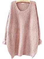 SweatyRocks Women's Embroidered Flower Oversized Knit Casual Loose Pullover Sweater