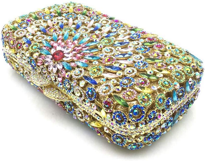 Vioetlly-Luggage Borsa da Sera Pochette Glitter da Donna con Strass Crystal Diamante Sparkly da Sposa Prom Party Borsa Borsa a Tracolla Abbinamento Perfetto per Abiti da Notte (Color : Silver) Colorful