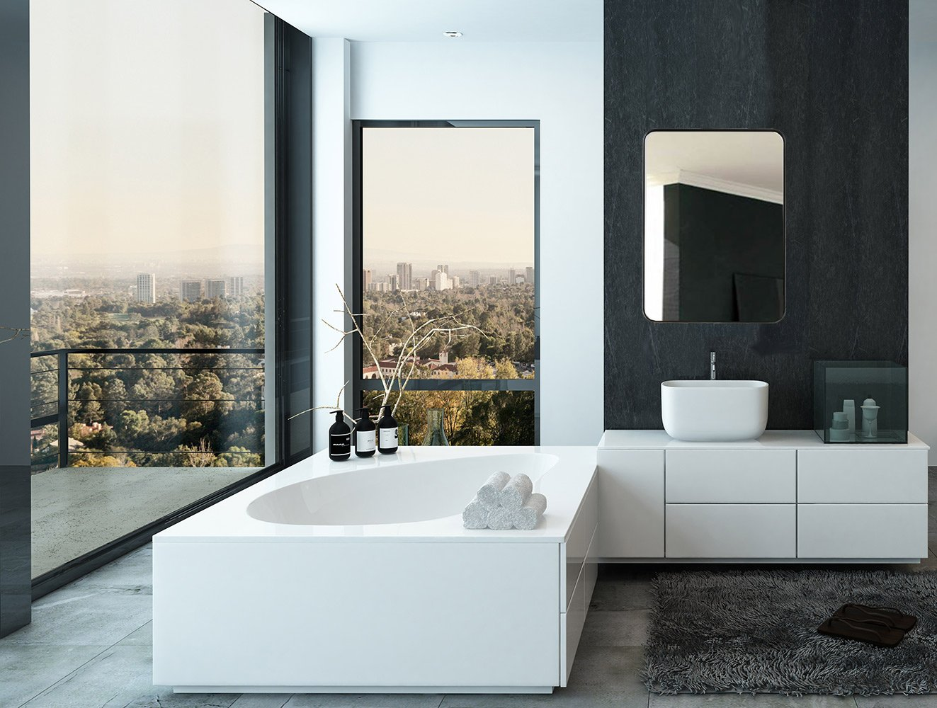 Contemporary Brushed Metal Wall Mirror
