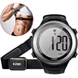 EZON Heart Rate Monitor Running Sports Watch with HRM Chest Strap,Waterproof,Stopwatch,Hourly Chime T007