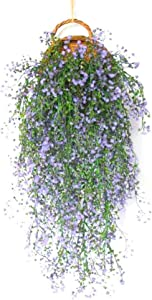 Fake Artificial Vines Flower Wall Hanging Faux Rattan Plant Flower Home Decor for Wall Indoor Outdoor Hanging Baskets Wedding Garland Decor Office Outdoor Greenery Wall Decor (Blue)