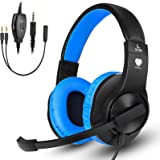 Gaming Headset for Nintendo Switch, Xbox One, PS4, DIWUER Bass Surround and Noise Cancelling 3.5mm Over Ear Headphones with M