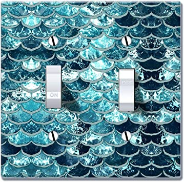 Wirester Double Gang Toggle Light Switch Plate Wall Plate Cover Mermaid Scales Blue Wave Amazon Com
