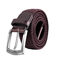 YAUGING Men Belts, Elastic Braided Stretch Belt with Covered Buckle, for Jeans, Trouser Belts