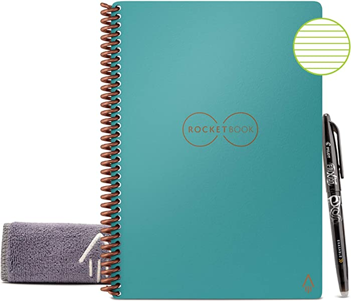 "Rocketbook Smart Reusable Notebook - Lined Eco-Friendly Notebook with 1 Pilot Frixion Pen & 1 Microfiber Cloth Included - Neptune Teal Cover, Executive Size (6"" x 8"