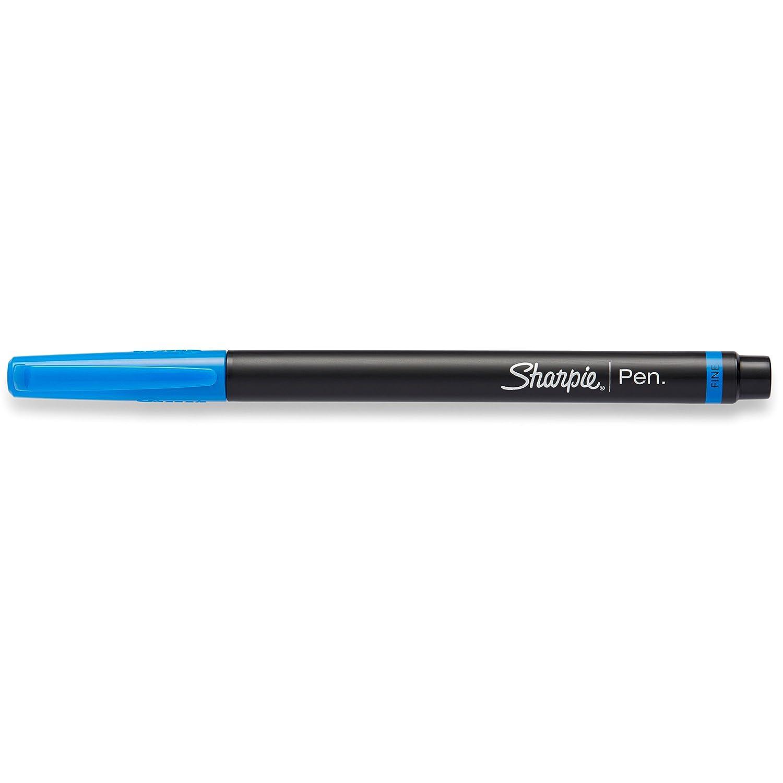 Sharpie Marker Permanent, Pen Black + Grey Barrel Fine, 12 Pack, Blue Ink /(1742664/) Sanford