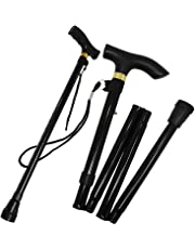 Foldable Adjustable Height Folding Height Lightweight Walking Stick Cane Non Slip Unisex By Guilty Gadgets (Black Colour)