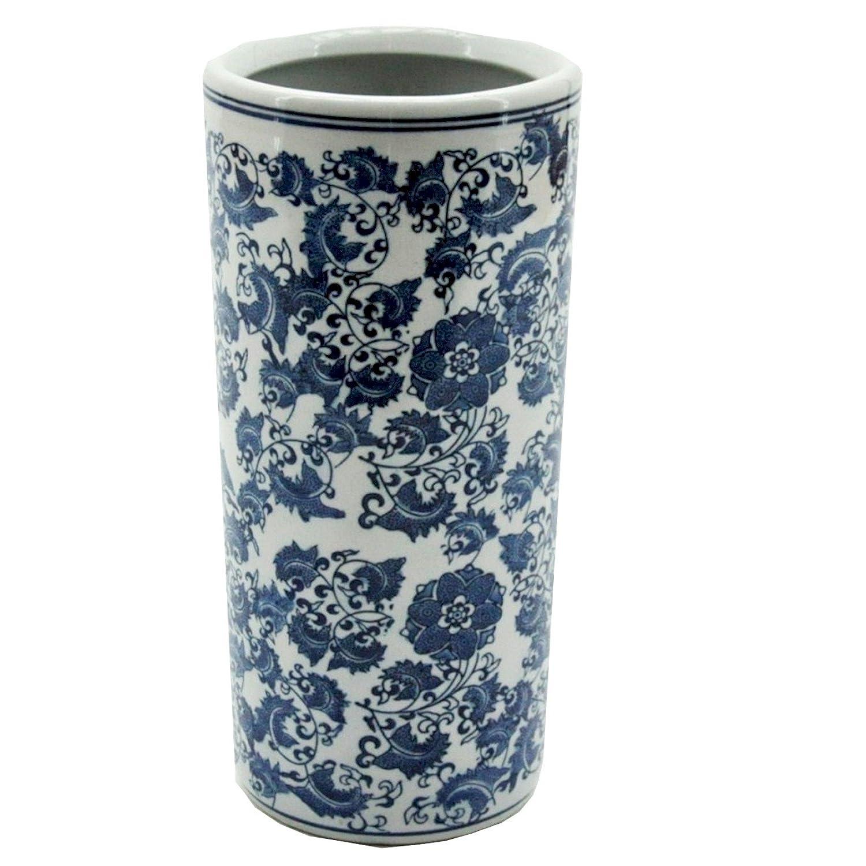 Minster Giftware 45, 7 cm Blu e Bianco con Ceramica Floreale portaombrelli 7cm Blu e Bianco con Ceramica Floreale portaombrelli Minster Stylish Living