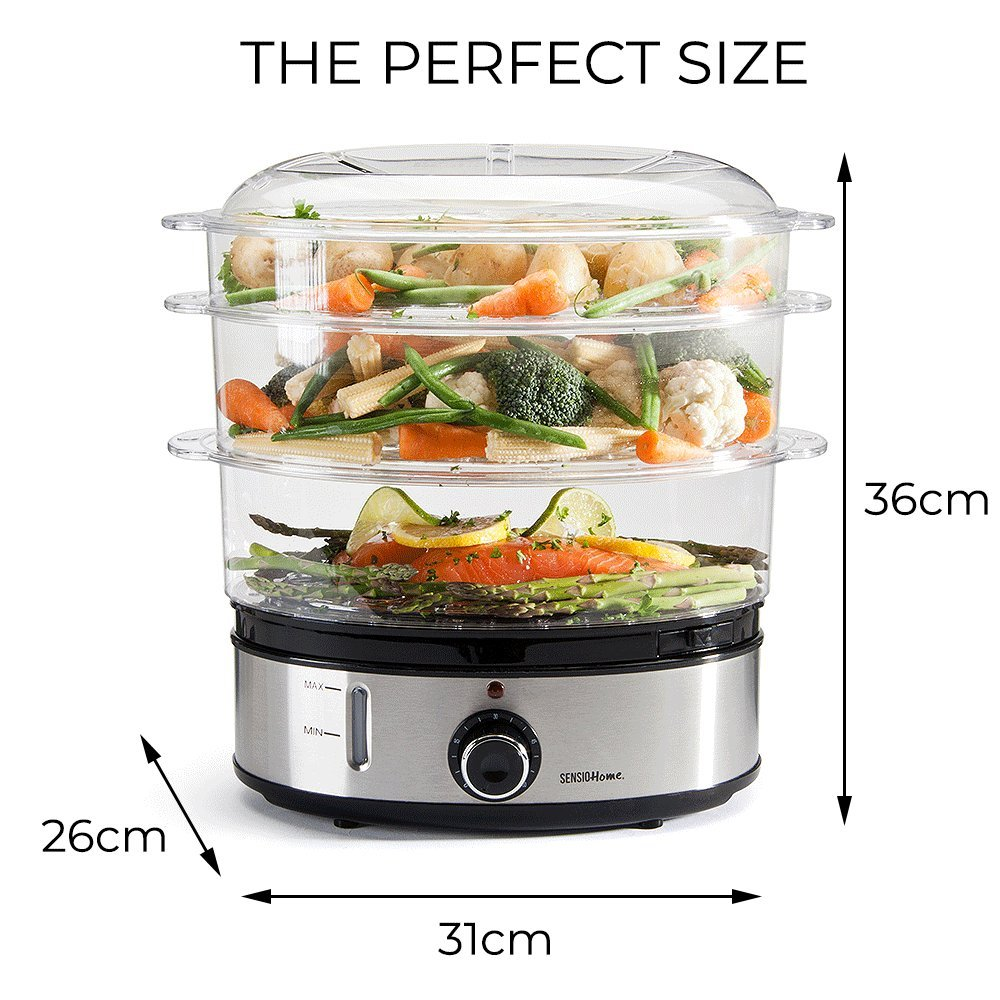 Meat /& Vegetable Steam Machine Multi Cooker Meat Veg Rice Sensio Home Stainless Steel 3 Tier Vegetable Steamer for Cooking with Timer Makes Healthy Meals Large Capacity Electric Food Eggs