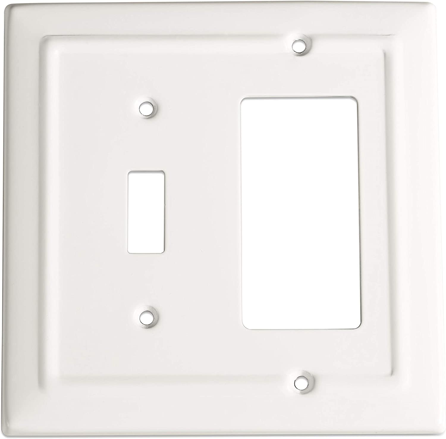 Monarch Abode 19055 Architectural Single Rocker Wall Switch Plate, Classic White